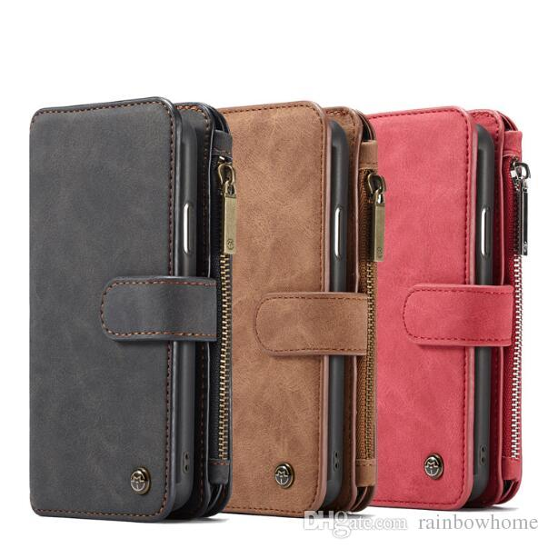 half off dab54 d46f9 CaseMe Wallet Case Split Leather Zipper Bag Multi Slot Magnet Cover For  iPhone XS Max XR X 8 Galaxy S9 S10 Plus Mate 20