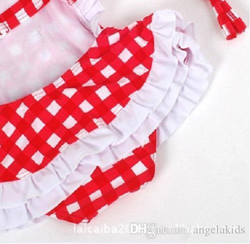 costumi da bagno bambini un pezzo Costume da bagno bambini Costumi da bagno Bikini a quadri rossi e bianchi 1288 Costume da bagno scozzesi rosso e bianco Bambini