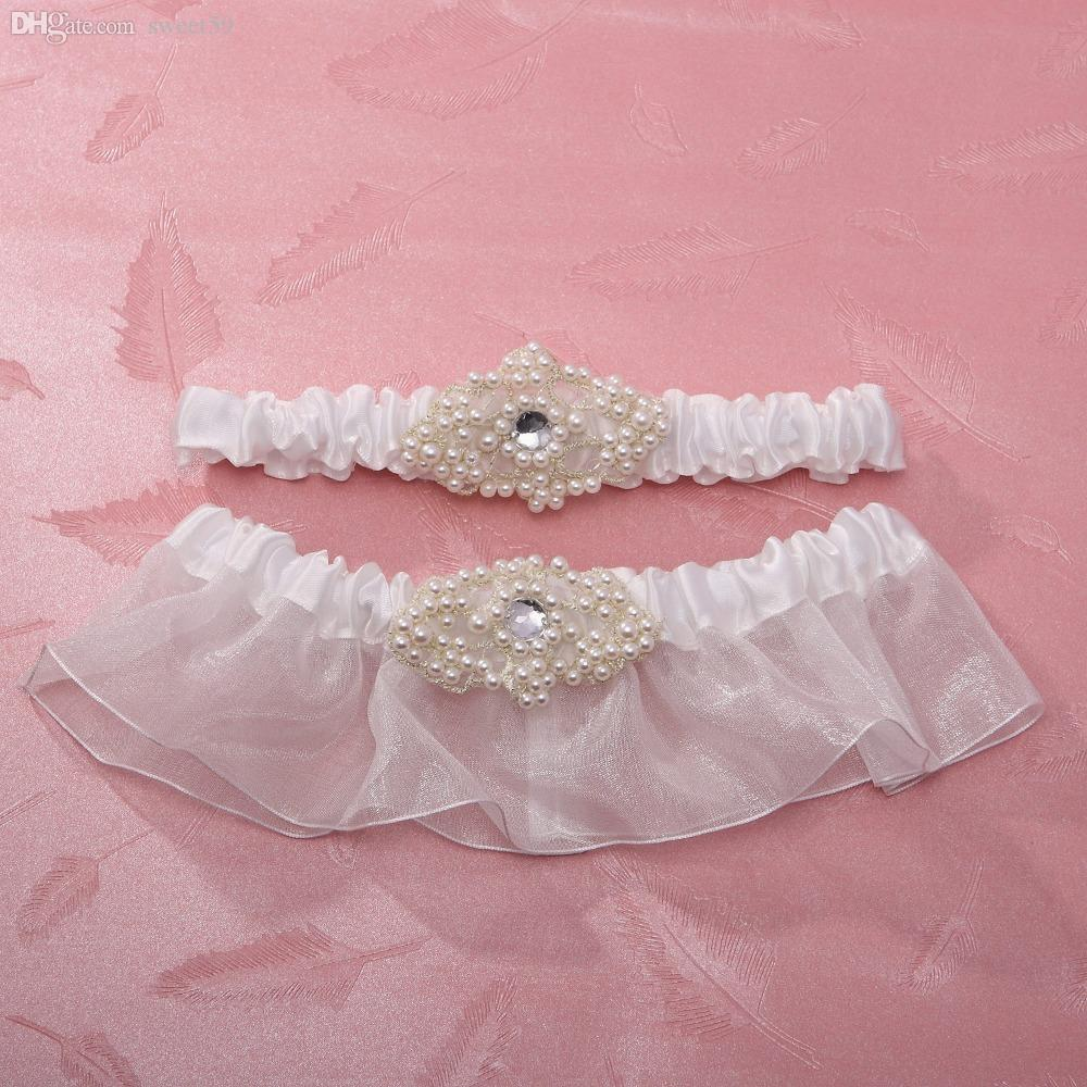 Wholesale-2-Piece Satin with Beading /Rhinestone Wedding Garter ...