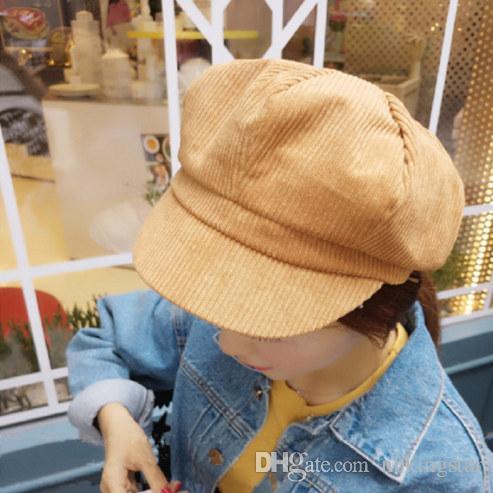2017 Mode Solide Newsboy Octogonal Chapeau Rétro Velours Côtelé Artiste Béret Chapeaux À Bord D'impression Peintre Cap Gatsby Golf Casquettes Pour Femmes