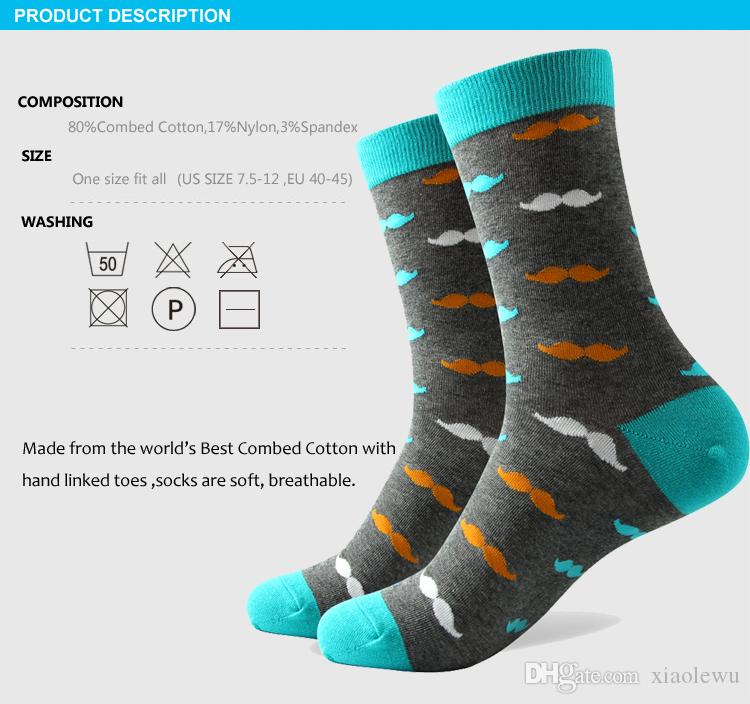 2016 Men's combed cotton brand men socks,colorful mustache socks,US size 7.5-12 327