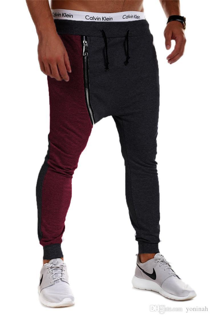 Justin Bieber Hip Hop Harem Pantolon Erkekler Baggy Bırak Crotch Spor Pantolon Fermuar Koşu Parça Pantolon Rahat Erkek Joggers Sweatpants