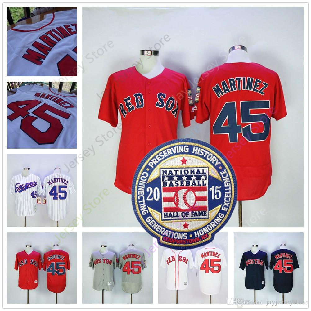 ddb9270b7 ... 2017 Pedro Martinez Jersey With 2015 Haff Of Fame Patch Boston Red Sox  Montreal Expos Jerseys ...