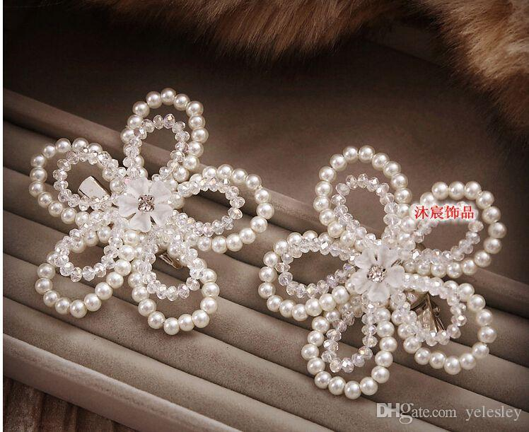 Bride Headdress Fashion Wedding Elegant Jewelry and Diamond Ornament Flower Headdress Hot Wedding High-grade Flower Model Headdress