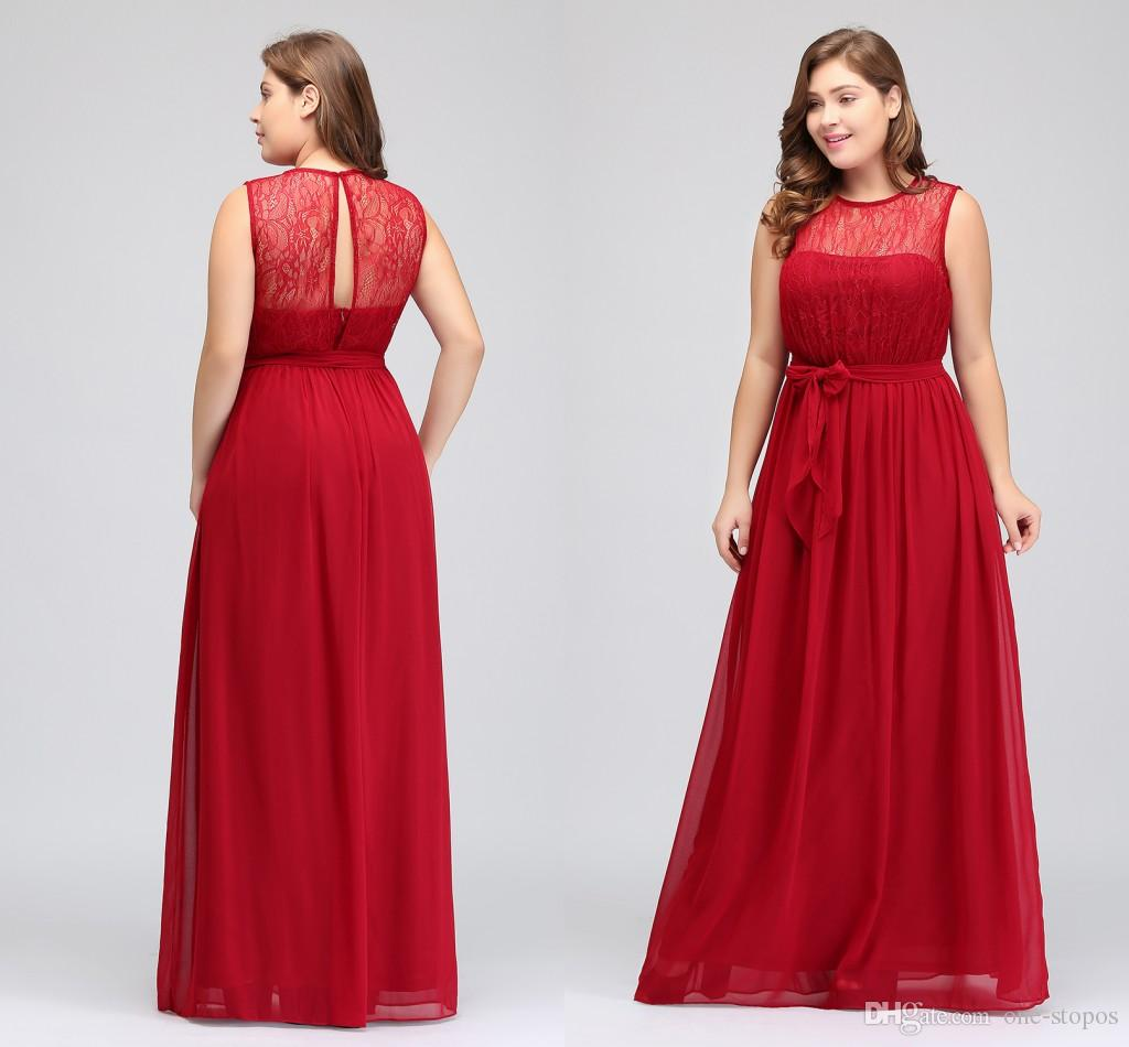 Cheap Plus Size Bridesmaid Dresses 2018 Designer Long Red Chiffon Maid of Honor Gowns Lace Top Sash Formal Wedding Guest Dress CPS616
