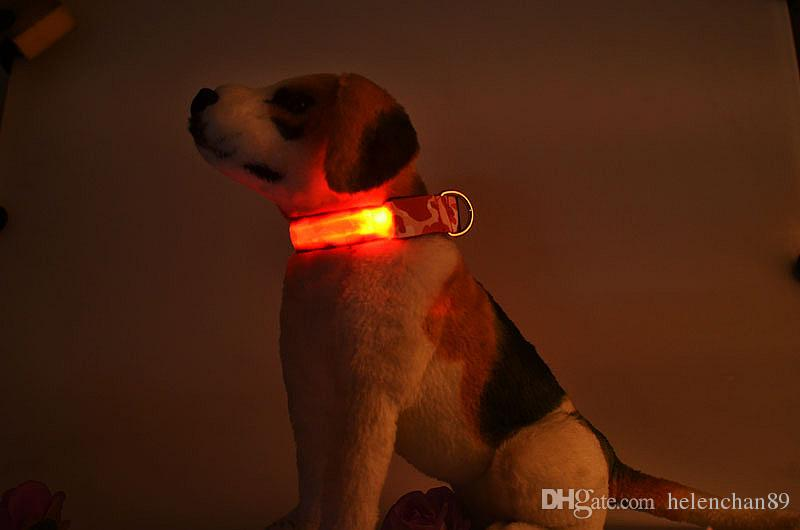 Camouflage Nylon LED Pet Dog Collar Night Safety Light-up Flash Glowing in Dark Dogs Collars S M L XL 4 Sizes