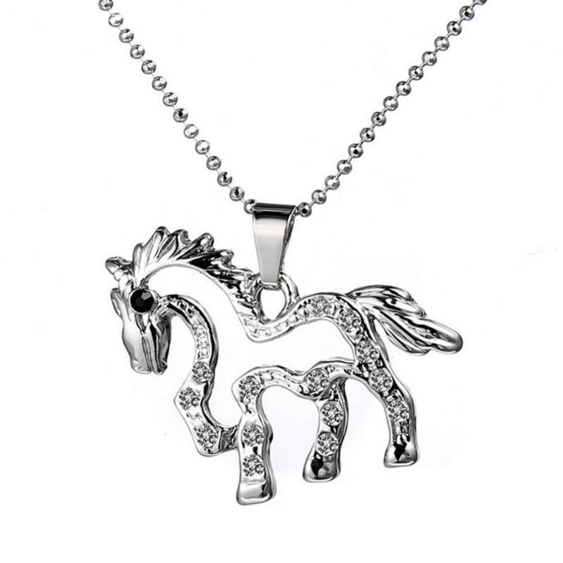 Brand New Womens Horse Pendant Colliers Colliers Cristal Alliage D'argent Bijoux Planté Livraison Gratuite [D0737-B-B]