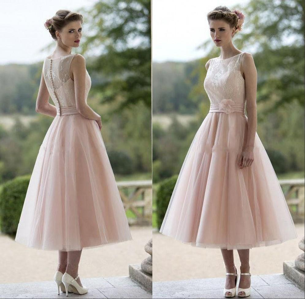 Vintage Dusty Pink Tea Length Bridesmaid Dresses Illusion Neckline ...
