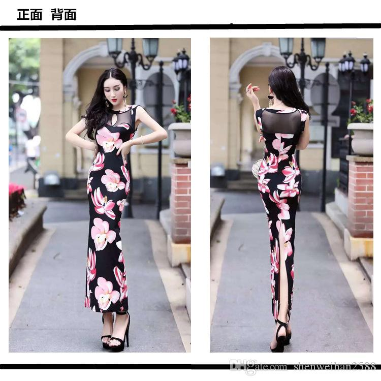 Cheap will the new sexy dress net sand stitching perspective high slit slim package hip dress LYQ085