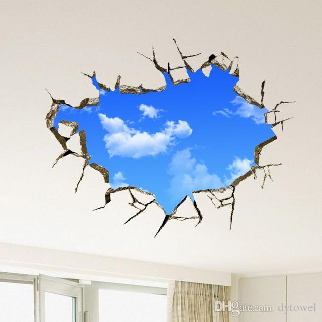 Wholesale 2016 Hot Landscape Blue Sky White Cloud 3D Wall Sticker Creative Home Decal For House Living Room Roof Sticker Wall Decal
