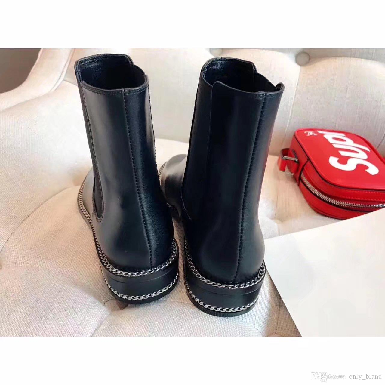 New Arrival Fall Winter Moto Booties Women Flats With Chains Black Color Ladies Western Boots