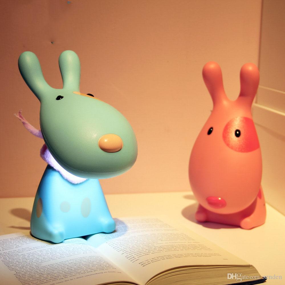 Promotion! Nouveau dessin animé belle 3D chien enfants LED nuit lumière USB rechargeable pour enfants étude table lampe de bureau lumière de lecture livraison gratuite