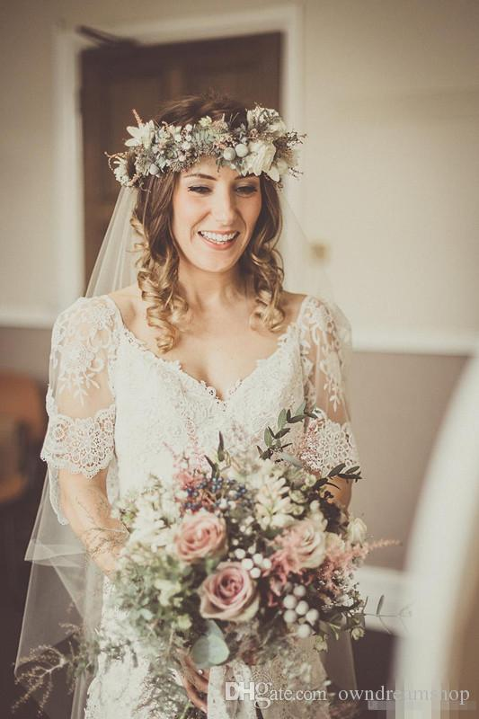 Lihi Hod 2016 Sheath Wedding Dress Deep V Neck Short Sleeves Sweep Train Sexy Backless 2015 Spring Summer BOHO Style Bridal Wedding Gowns