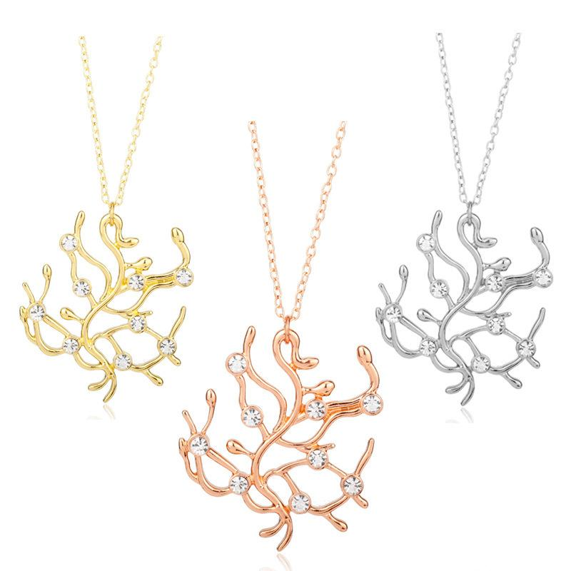 Wholesale newly fairy tale belle golden rose spray pendant necklaces wholesale newly fairy tale belle golden rose spray pendant necklaces beauty and beast necklace cosplay rose tree pendants jewelry gold jewelry rose gold aloadofball