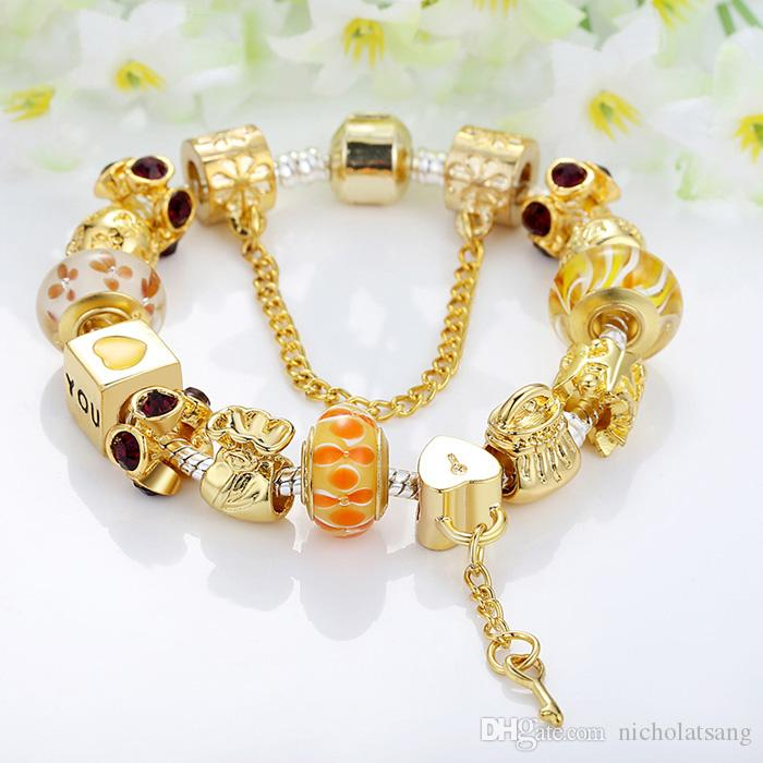 3 Styles Luxury Fashion DIY Pandora Bracelets for Women Crystal Beads Lock and Key Gold Plated Bracelet Gift for Lover High Quality Jewelry