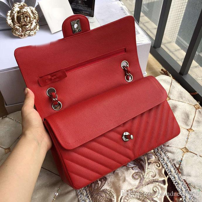 excellent quality 25.5cm Black V Quilted Caviar Double Flap Bag Women Original Caviar Calfskin Shoulder Bag Crossbody Bag Gray Red 379