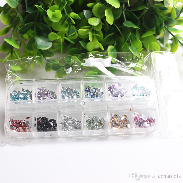 New 2mm Circle or Waterdrop Shape Beads Nail Art Tips Rhinestones Glitters Acrylic UV Gel Gems Decoration With Hard Decorations
