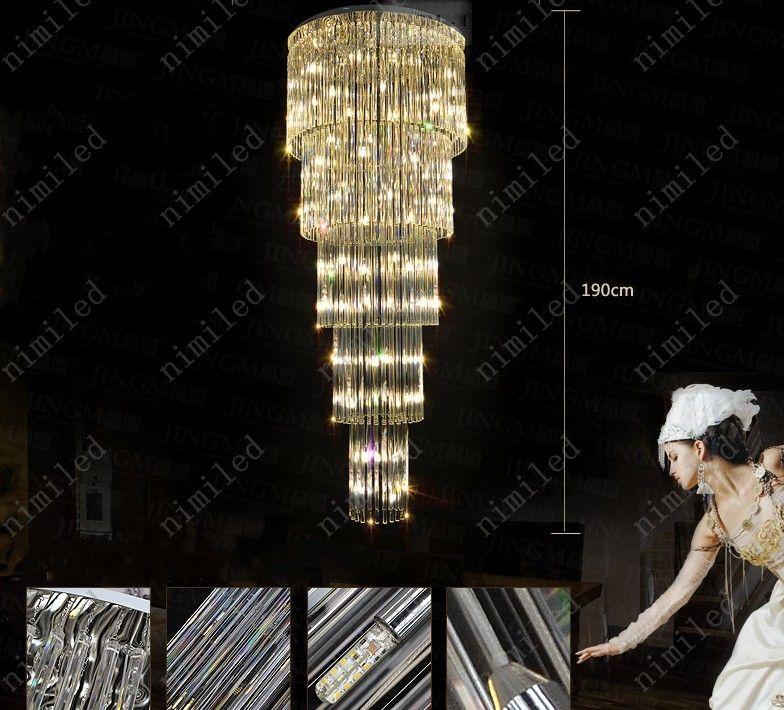 nimi1010 Moderne Diamant 50 / 80cm Duplex Villa Escalier Lustre Cristal LED Stairwell Lights Long De Luxe Salon Chambre Hall Suspension Pendant
