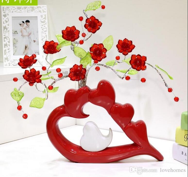 Modern Lucky heart 22 Shapes Ceramic Vase for Home Decor Tabletop this pirce is for a set vase and flowers together