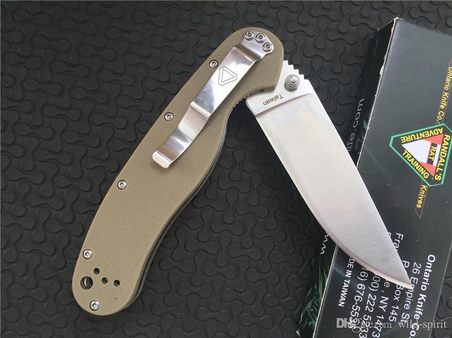 OKC Ontario RAT Modello Coltello Desert AUS-8 Satin Plain 8848SP G10 manico Coltello da lama pieghevole Coltello da tasca EDC i