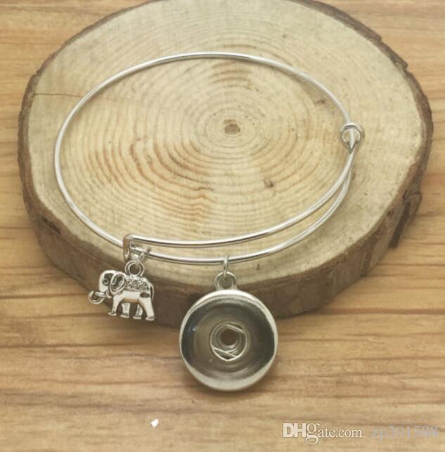 Vintage Silver Snaps Button Elefant Musical Notes Pferd Baum Engel Zahn Knoten Charms erweiterbar Armband Armreifen Frauen Schmuck Z32