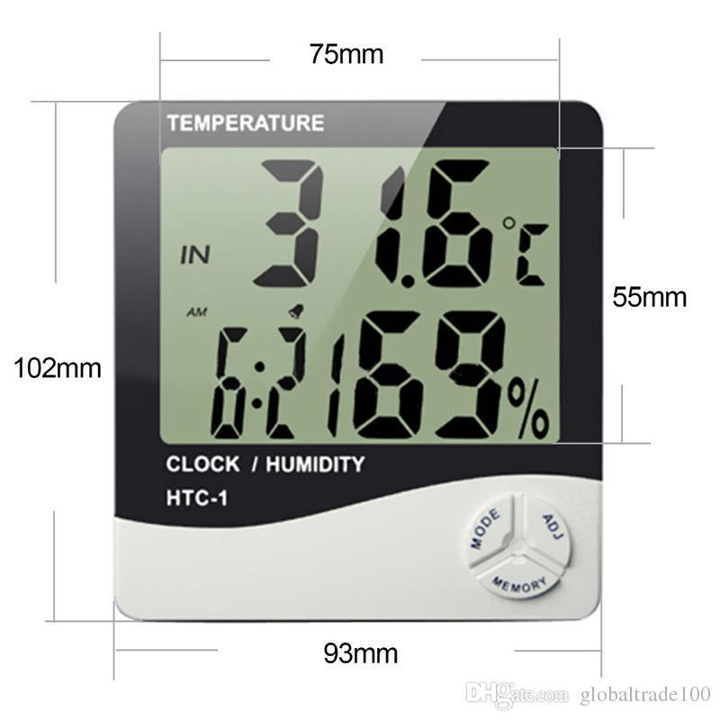 HTC-1 Yüksek doğruluk LCD Dijital Termometre Higrometre Kapalı Elektronik Sıcaklık Ve Nem Ölçer Saat Alarm Hava İstasyonu 50 adet DHL