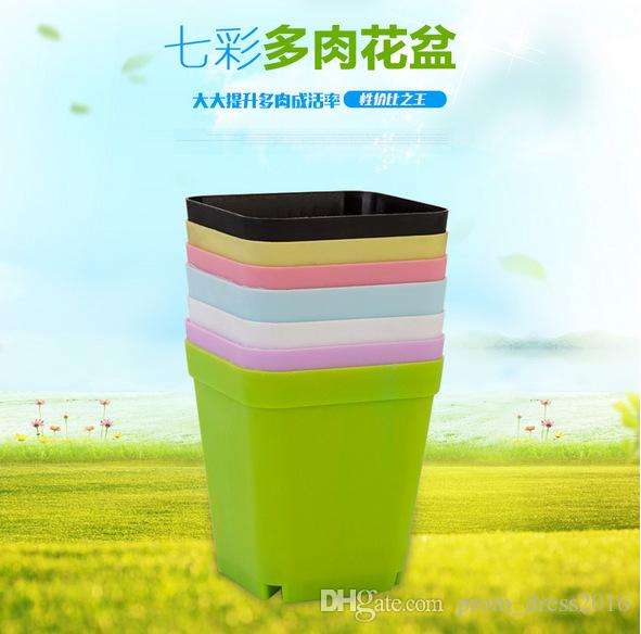 2016-2017 Cheap Caliber: 7cm, Height: 8cm Thick Multi-meat Pots Nursery Square Basin Colorful Plastic Flower Pot Black Square Small HY1624