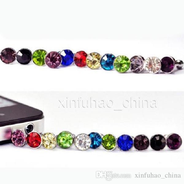 1000 unids / lote accesorios de teléfono de lujo pequeño diamante Rhinestone 3.5 mm enchufe del polvo enchufe del auricular para el teléfono inteligente y el teléfono android