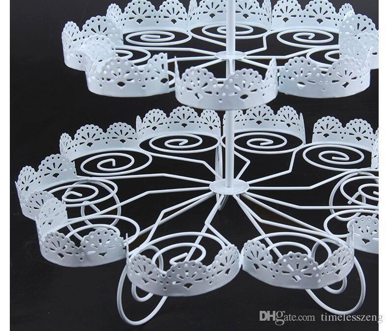 Cupcake Holder Wedding Decoration Dessert Display 3 Tiers White Lace Iron Cake Stand Can Hold 22 Cakes