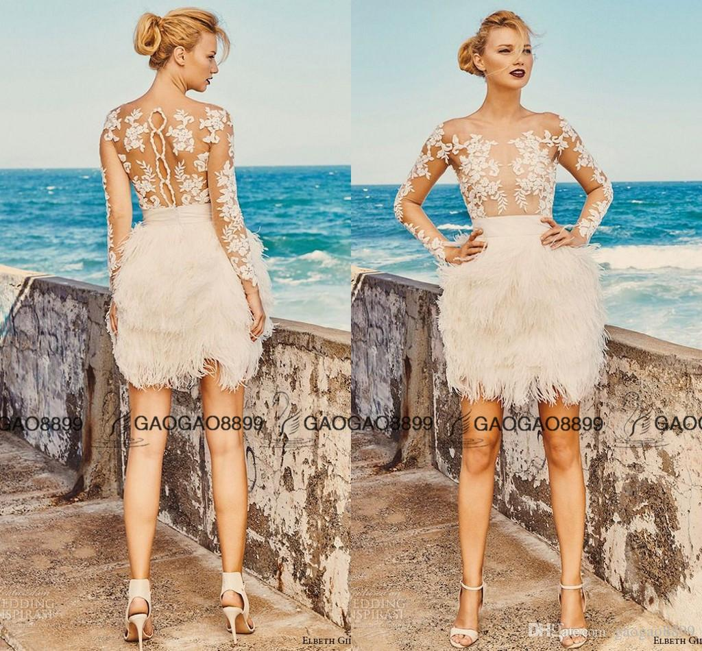 Discount Elbeth Gillis Milk Honey 2017 Bridal Separates Illusion Long Sleeves Aline Short Wedding Dresses Fully Feather Lace Mini Wedding Gowns Wedding