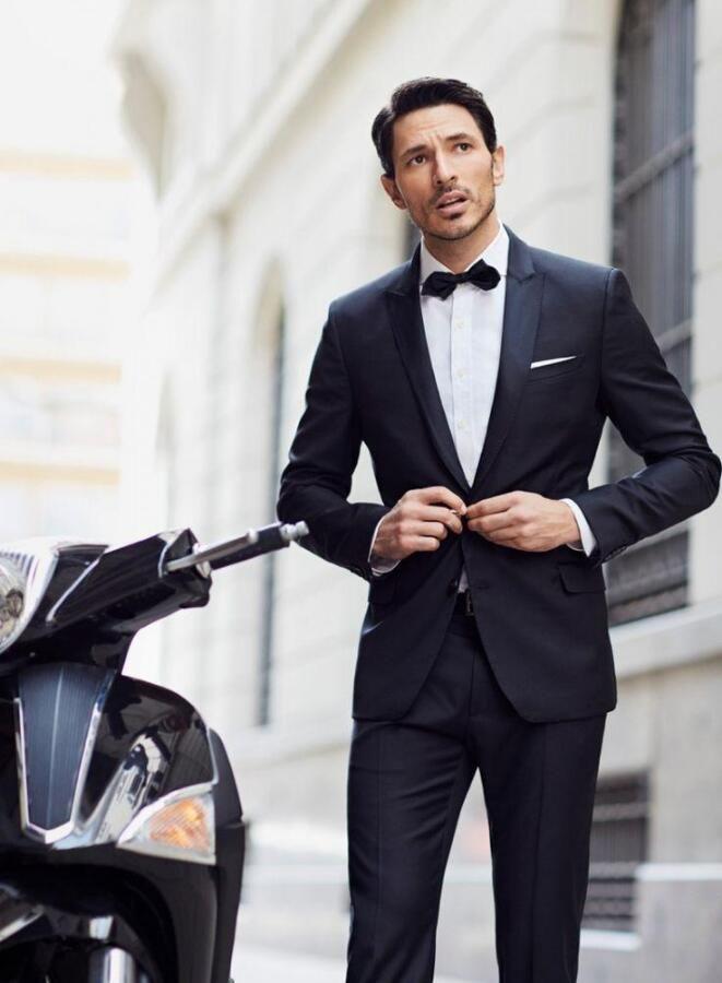 wedding suits for men Black Leisure prom Hot sale Men's morning dress Gun collar sequin groom suits groomsmen suit