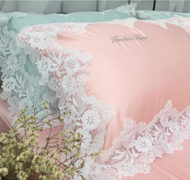 Pure Korean princess flowers satin embroidery lace Long-staple cotton wedding bedspread bedding sets pillowcase, bed skirt Duvet Cover