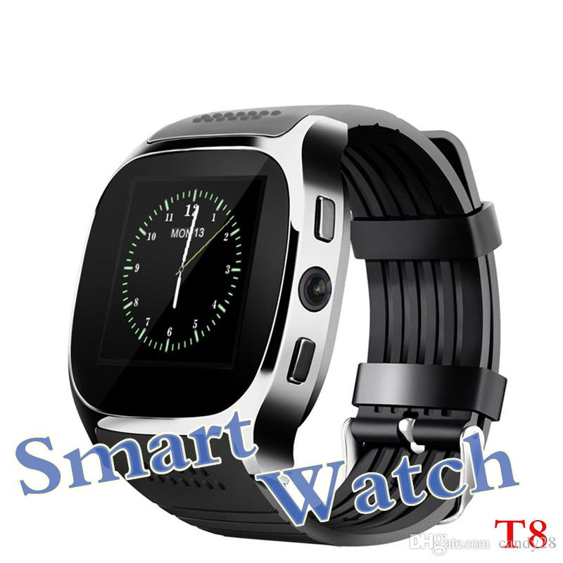 New Upgrade T8 Bluetooth Smart Watch with Camera Facebook Whatsapp Support SIM TF Card LBS Locating FM Radio Sport Wristwatch for Android