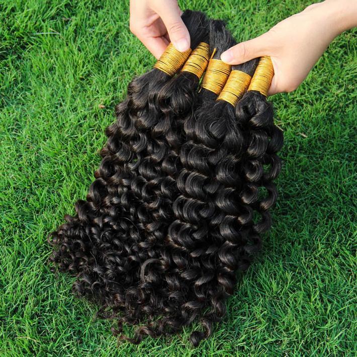 Top Quality Curly Human Human Bulks Sem trama Brasileiro Brasileiro Kinky Curly Hair Extensões a granel para trança sem anexo 3 pacotes
