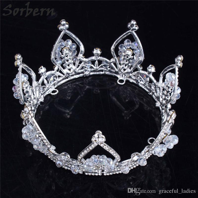Sorbern Silver Round Wedding Crown Accessori capelli Large Diademi Brides Halloween Accessori capelli donne Dropship Suppliers
