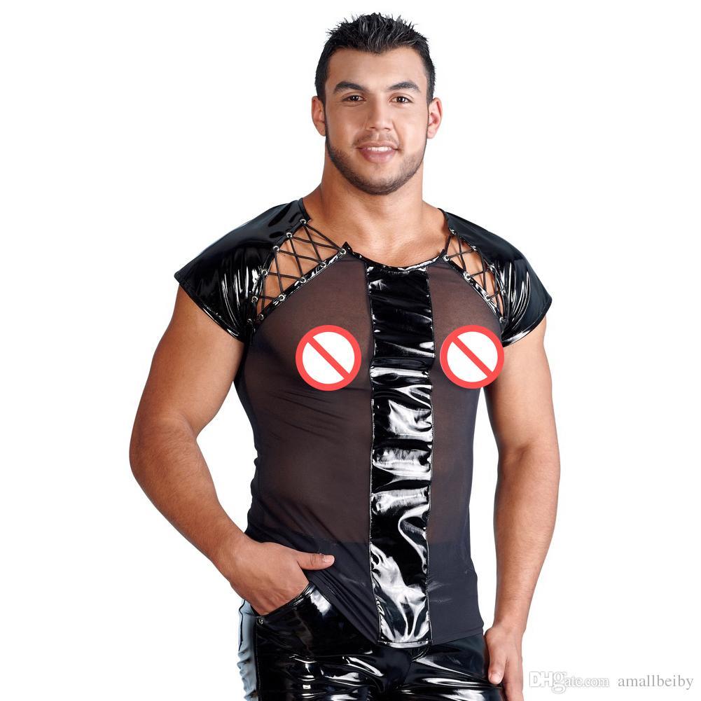 T 셔츠 남자 섹시한 DS 나이트 클럽 의상 투명한 메쉬 티셔츠 탑 언더 셔츠 섹시한 란제리 Mens 가죽 의상 이국적인 탱크