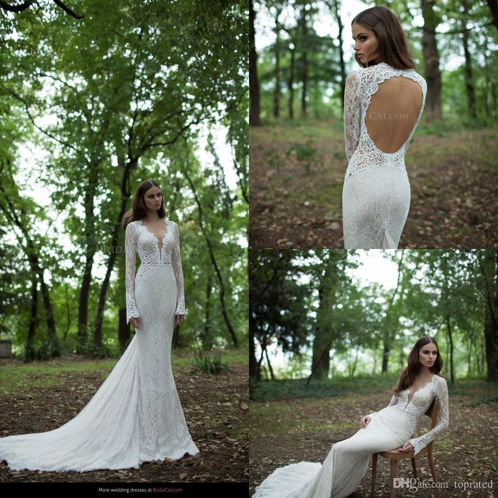 Lace Mermaid Wedding Dresses 2019 Berta Long Sleeves Backless Sweep Train Ruffles Bohemian Bridal Gowns New Collection Custom Made