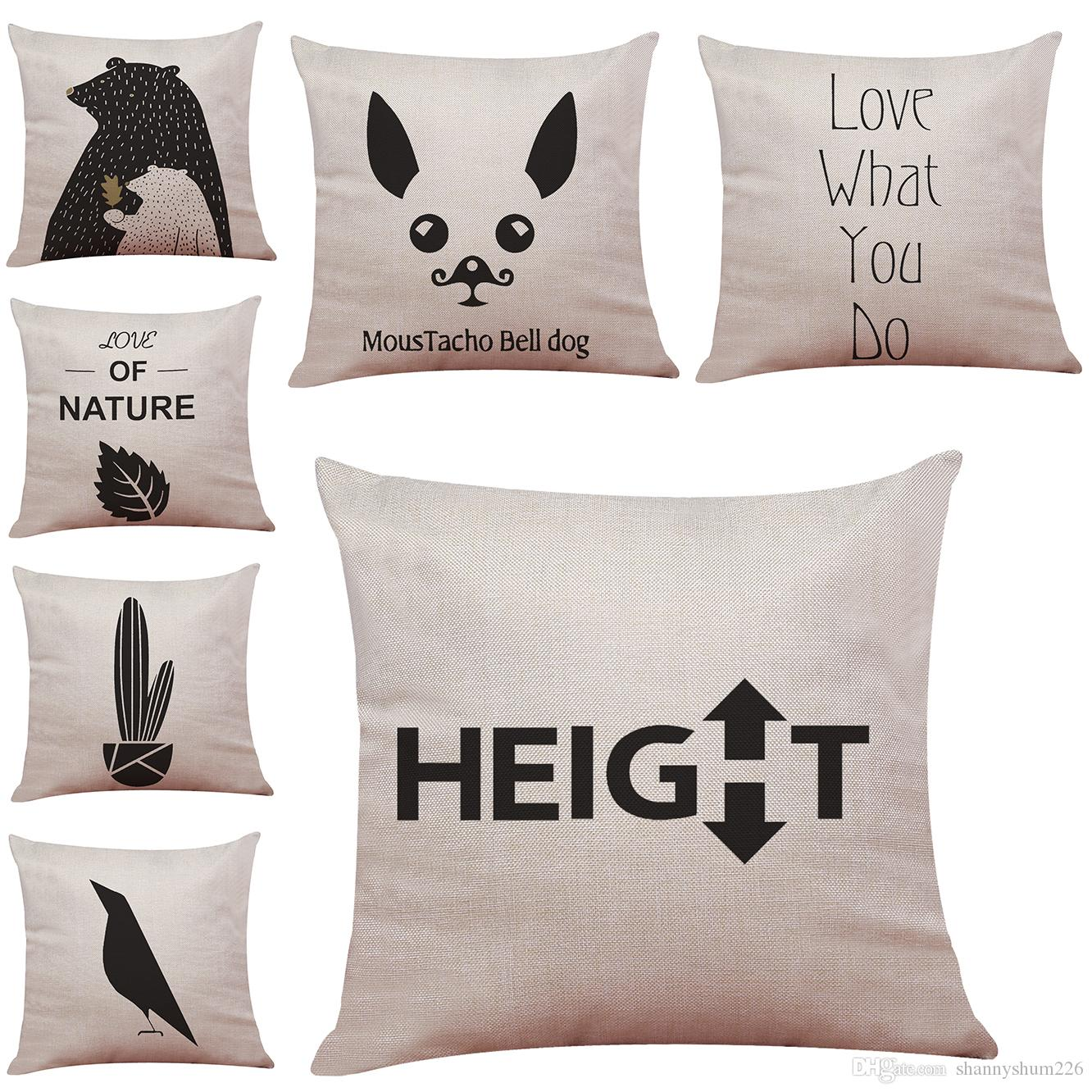 Novelty Animal Quotes And Sayings Linen Cushion Cover Home Office ...
