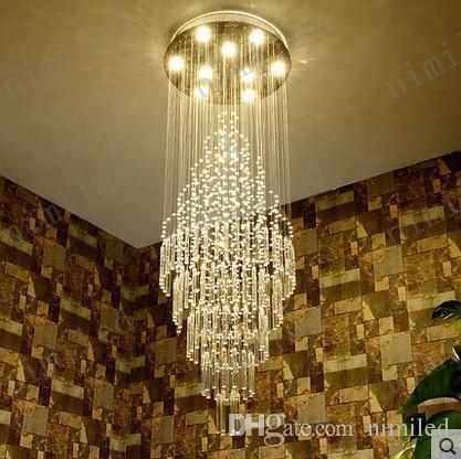 Nimi1009 moderne lange Kronleuchter Kristall Penthouse Treppe Villa großes Wohnzimmer Hotel Lobby Showroom Restaurant Pendelleuchte Beleuchtung