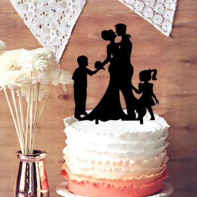 Funny wedding cake topper groom and bride with two kids funny wedding cake topper groom and bride with two kids silhouette cake toppe family wedding cake topper family wedding cake topper wedding cake topper junglespirit Images