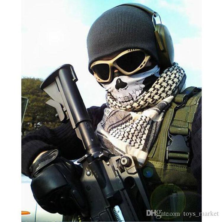 2016 многофункциональный череп маска для лица Спорт на открытом воздухе лыжный велосипед мотоцикл шарфы бандана CS шеи Snood Хэллоуин косплей полное лицо маски