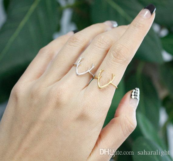 -R136 New Cute Animal Deer Ring in Gold Cute Animal Antler Rings for Women Wholesale