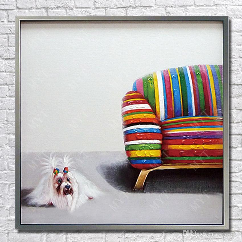 cheap price for wholesale artwork painting cartoon dog pictures no frame by hand painted animal oil painting