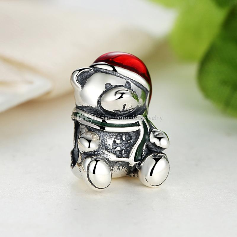 925 Sterling Silver Christmas Teddy Bear Charms with Red & Green Enamel for DIY Beaded Charm Bracelets & Necklaces Christmas Gift S380