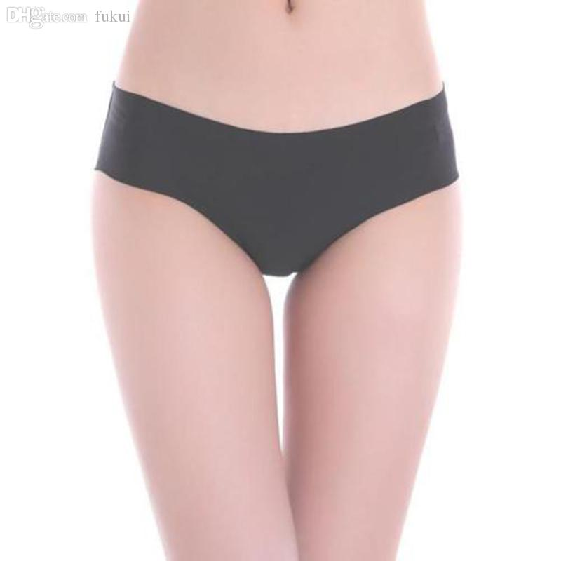 2669f4d1038b Wholesale-Solid Women Invisible Seamless Soft Thong Lingerie Briefs Hipster Underwear  Panties Underwear Top Underwear Bulge Panties Black Online with ...
