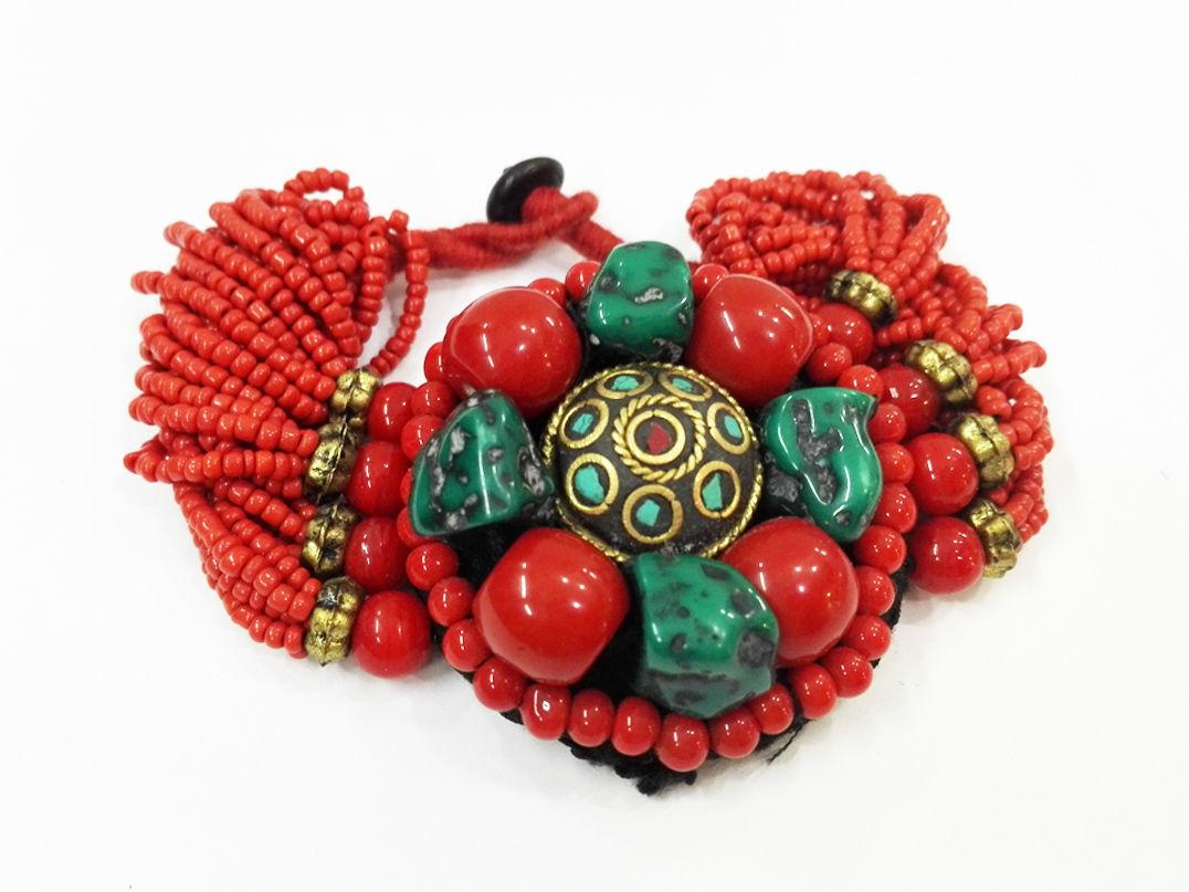 Excelente Tibetano Coral Vermelho Bead Turquesa Pulseira Multicamadas Coral Bead