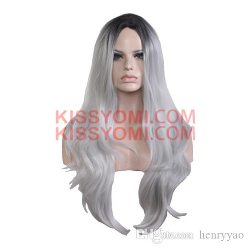 Cospaly Wig Harajuku Lolita Wig Long Body Wave Synthetic Hair Black Mix Granny Grey Wigs for Women Synthetic Wig