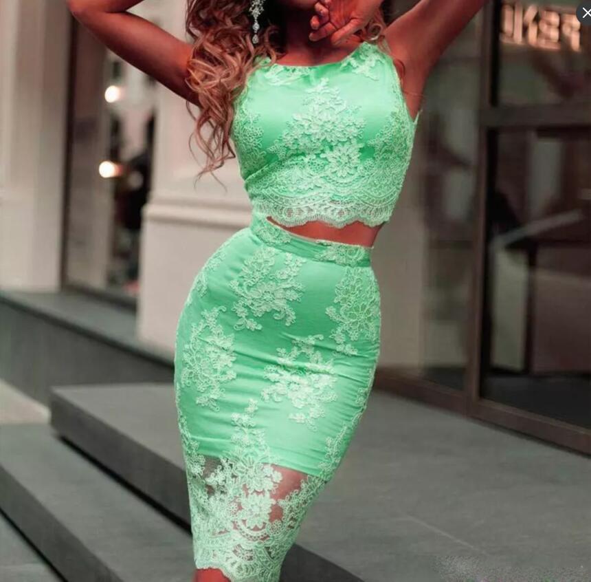 Grün Sexy Zwei Stücke Kleider Party Abendgarderobe Spitze Durchsichtig Ärmelloses Abendkleid Reißverschluss Zurück Knielangen Heimkehr Kleid Billig