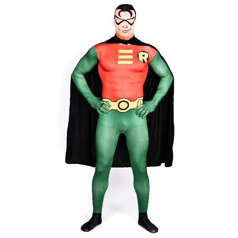 Robin Cosplay Costume Adult Halloween Cosplay Superhero Zentai Suit Batman Robin  Costume Men Male Cosplay With Cloak 6 People Halloween Costumes Halloween  ... - Robin Cosplay Costume Adult Halloween Cosplay Superhero Zentai