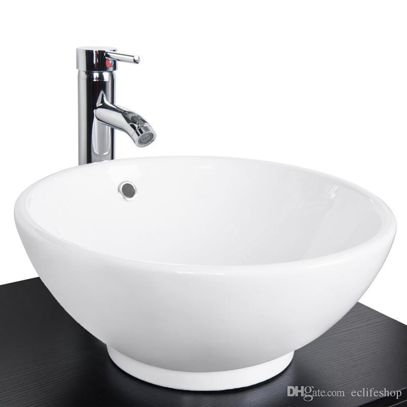 Großhandel 2017 Neue 1,5 Gpm Weiß Runde Keramik Porzellan Schiff  Waschbecken Und Wasserhahn Combo Für Badezimmer Waschbecken Schüssel Pop Up  Drain Von ...